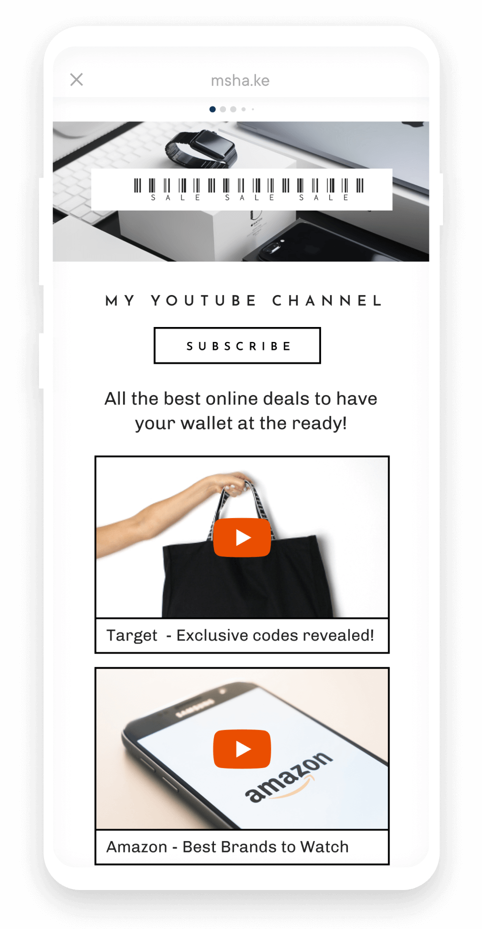 Excusive deals + discounts | YouTube Card